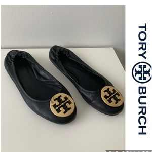 TORY BURCH MINNIE LEATHER TRAVEL BALLET FLATS 9.5